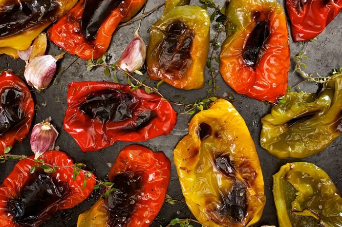 Roasted bell pepper with garlic and herbs