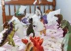 dinosaurs pillow fight