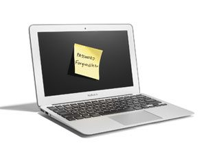 laptop with post it note