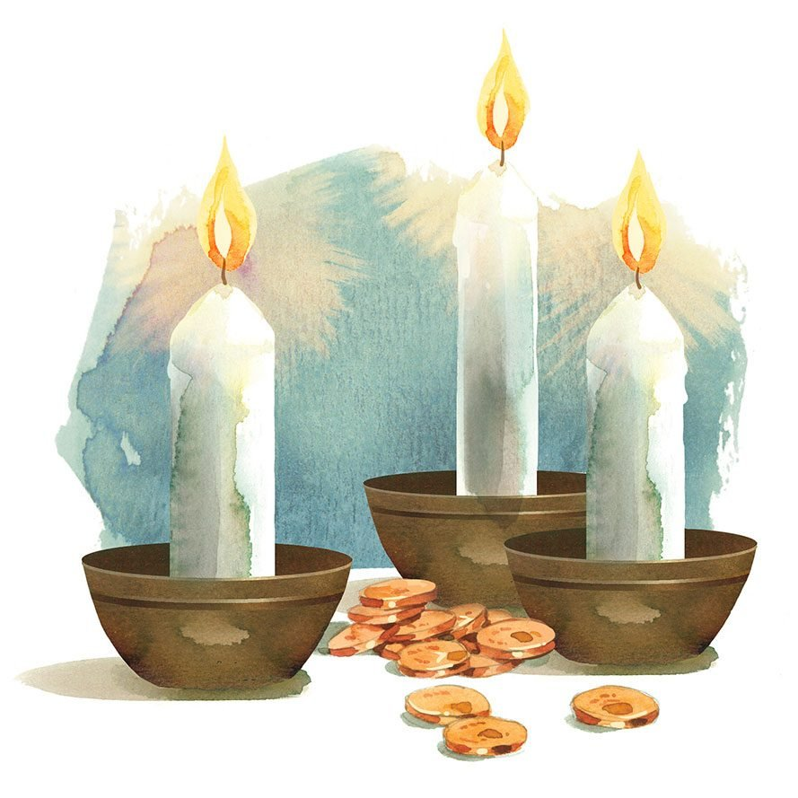 illustration of three candles with some scattered coins