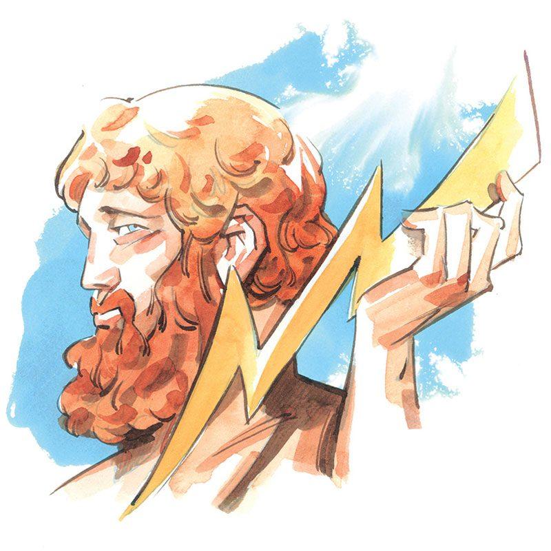illustration of zeus holding a lightning bolt