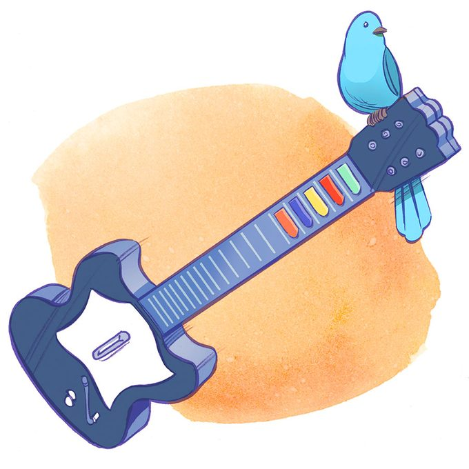 illustration; video game guitar with bluebird on the edge