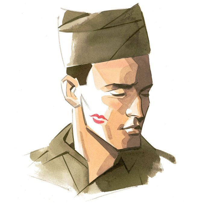 illustration of a soldier with a lipstick kiss on his cheek