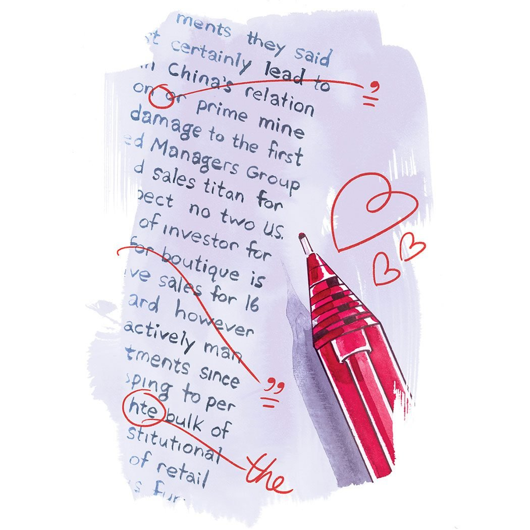 illustration; pen marks correcting spelling and grammar