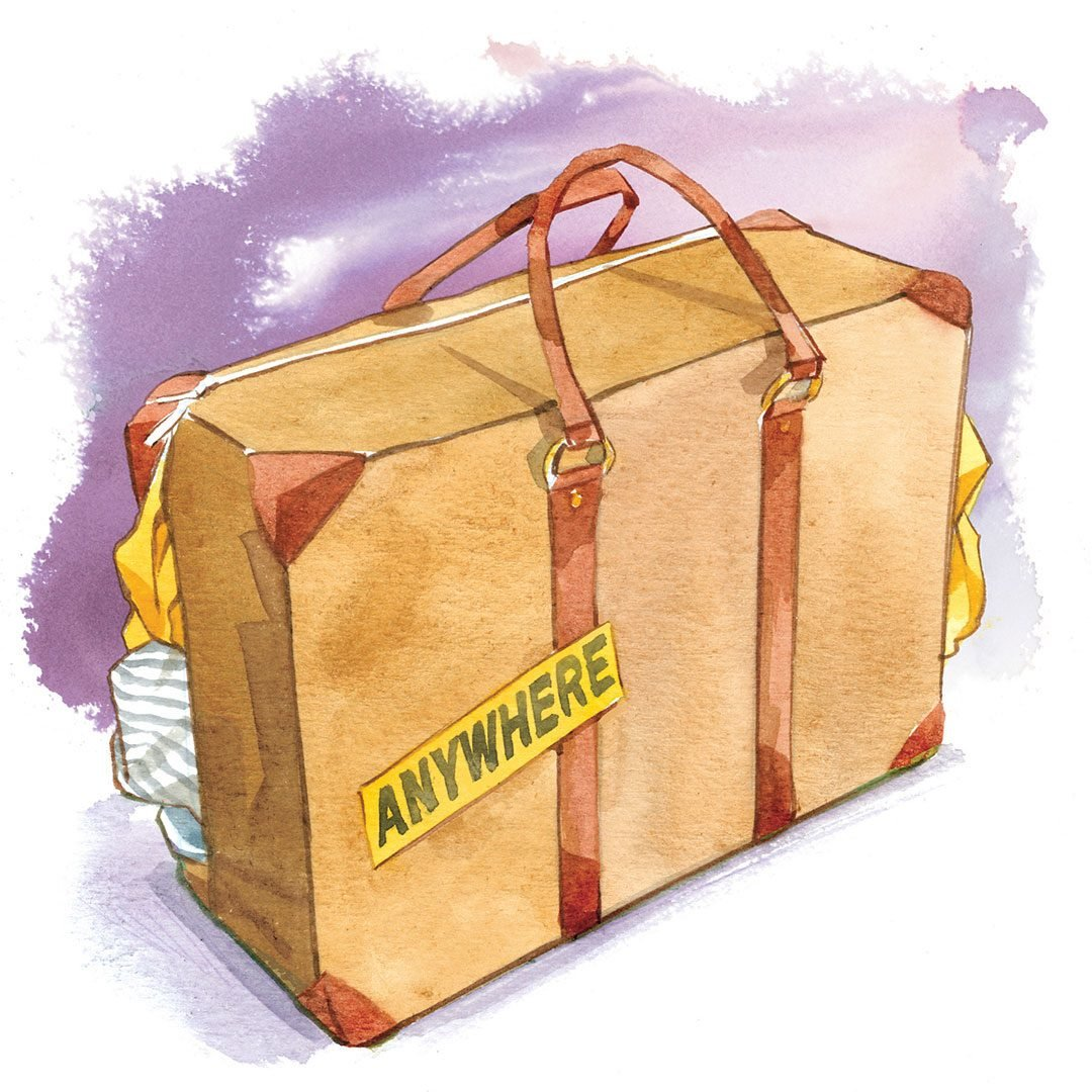 """illustration of a suitcase with a sticker that reads, """"Anywhere"""""""