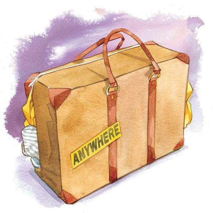 "illustration of a suitcase with a sticker that reads, ""Anywhere"""