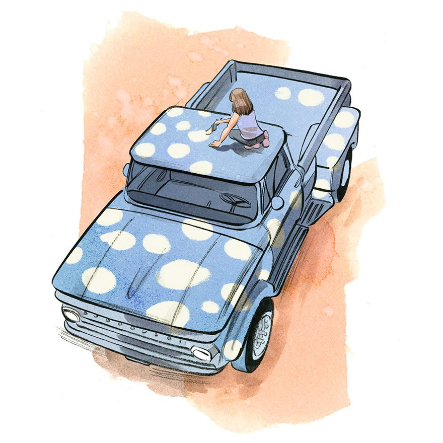 illustration of a woman painting polka dots on a pick up truck