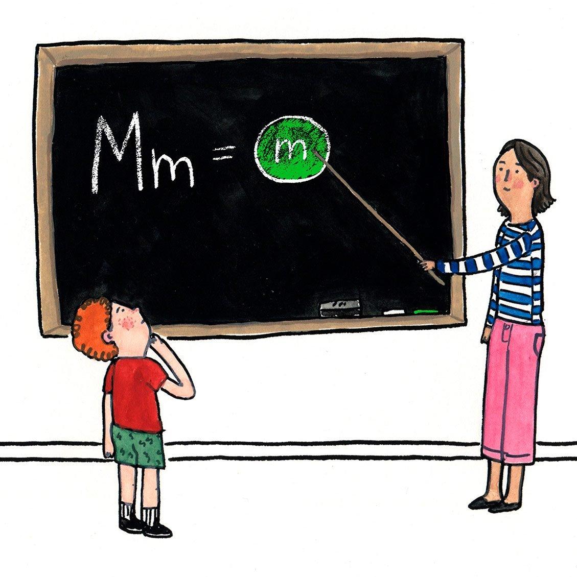 Illustration of teacher teaching m&ms