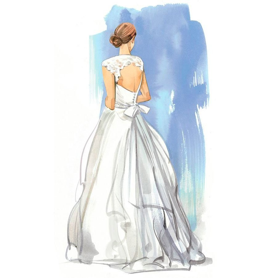 illustration; back view of a woman in a bridal gown