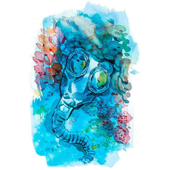 illustration; scuba mask under water