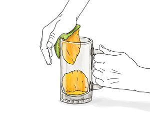 peeling mango
