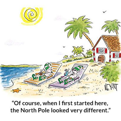 from the looks of this christmas cartoon santas elves arent too worried about climate change - Funny Christmas Cartoons