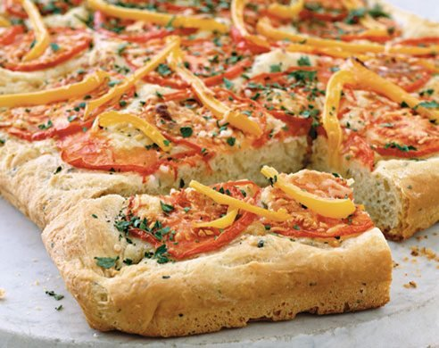 Foccacia with Tomatoes, Peppers, and Parsley