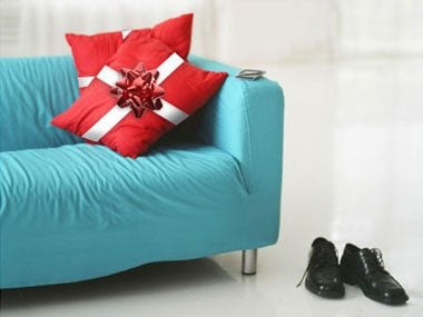tie a bow around your throw pillows with ribbons and theyu0027ll look just like christmas gifts add a rhinestone pin for an extra decorating