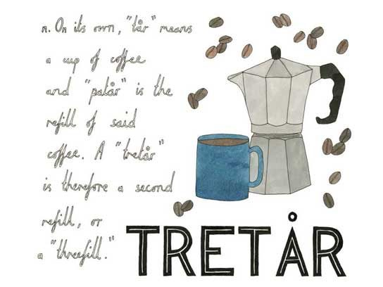 "Tretar (Swedish): A second refill of coffee, or a ""threefill"""