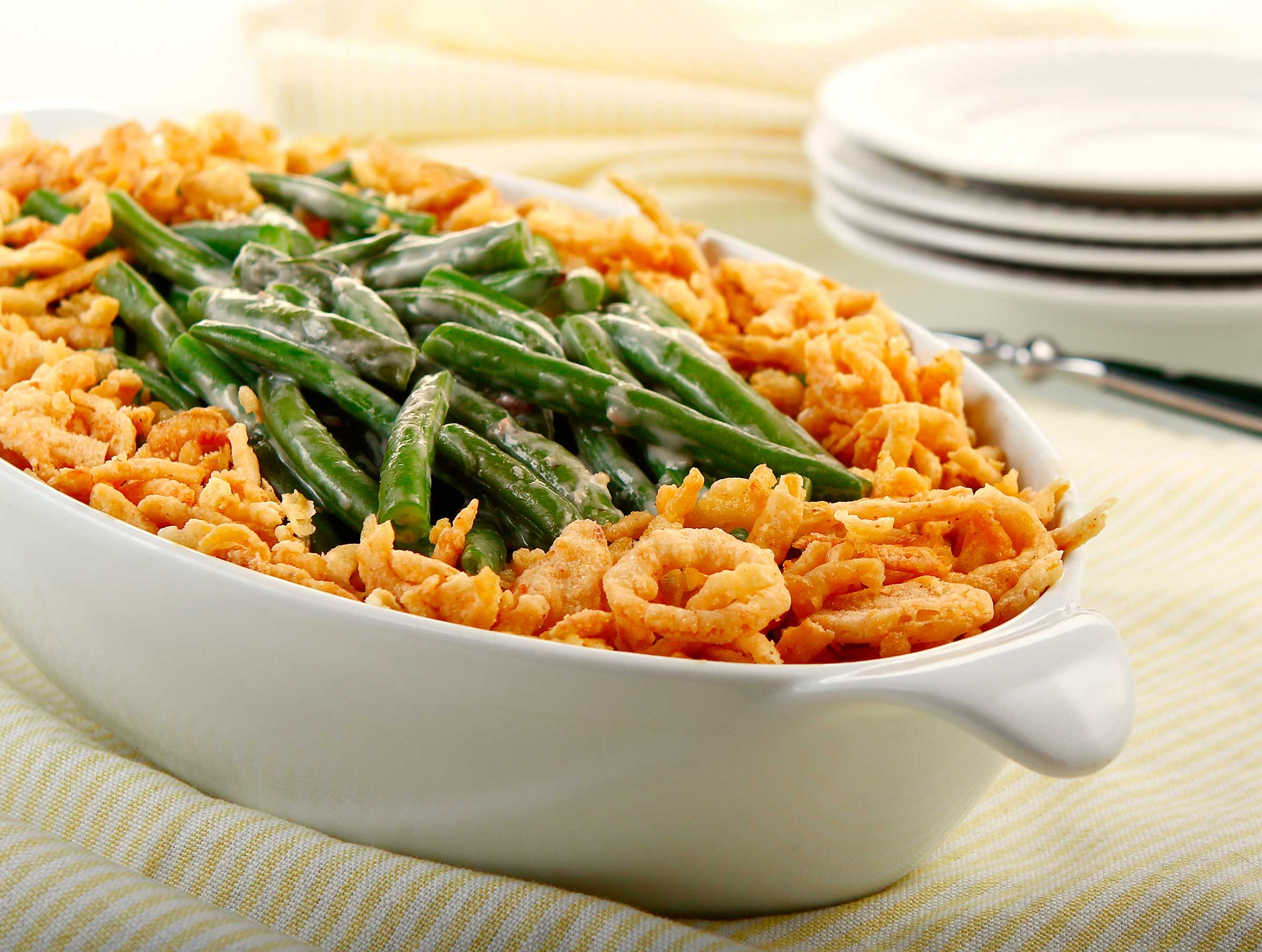Green bean casserole: 110 calories, 8 g fat per 2/3 cup