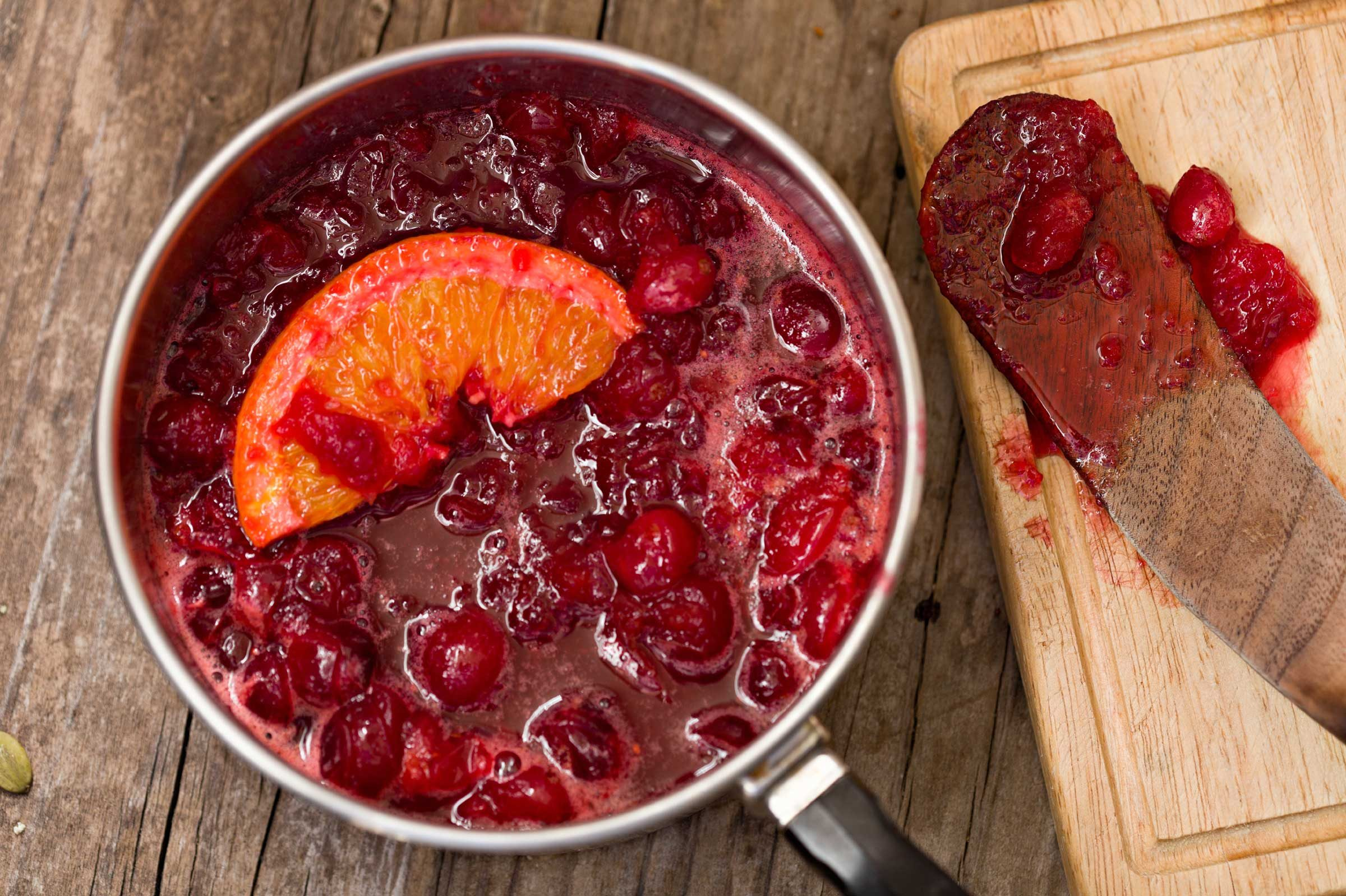 Sweetened cranberry sauce: 110 calories, 22 g sugar per 1/4 cup