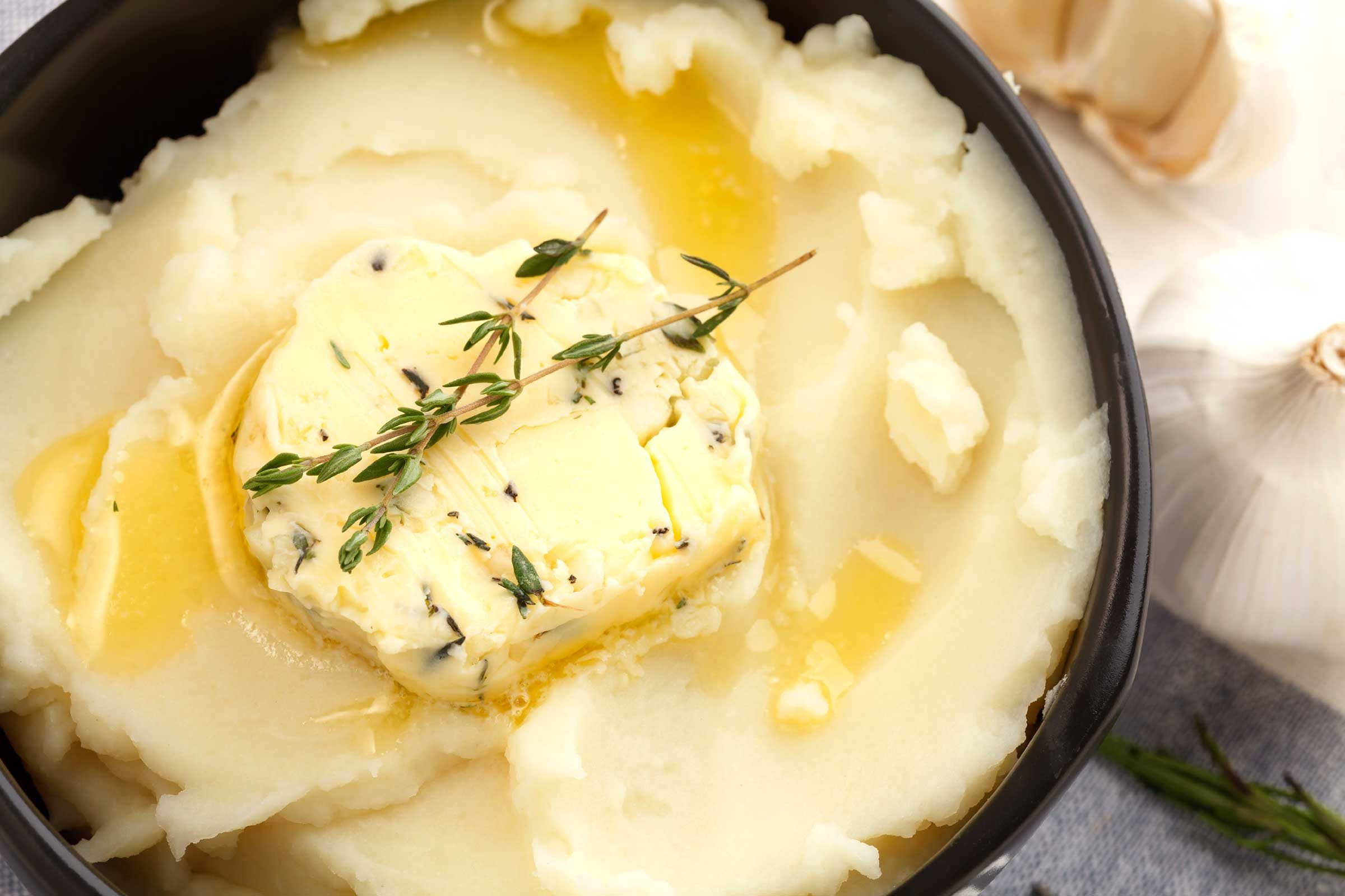 Mashed potatoes with whole milk and margarine: 237 calories, 9 g fat per cup
