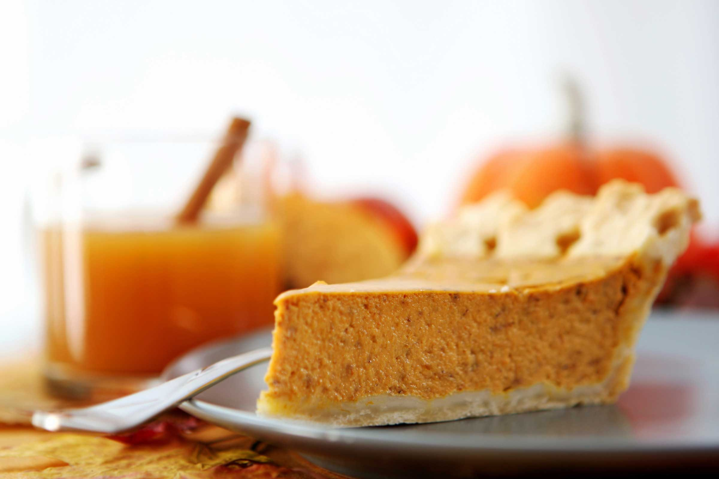 Pumpkin pie: 316 calories, 14 g fat per slice