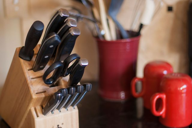 how to clean germ kitchen items knife block