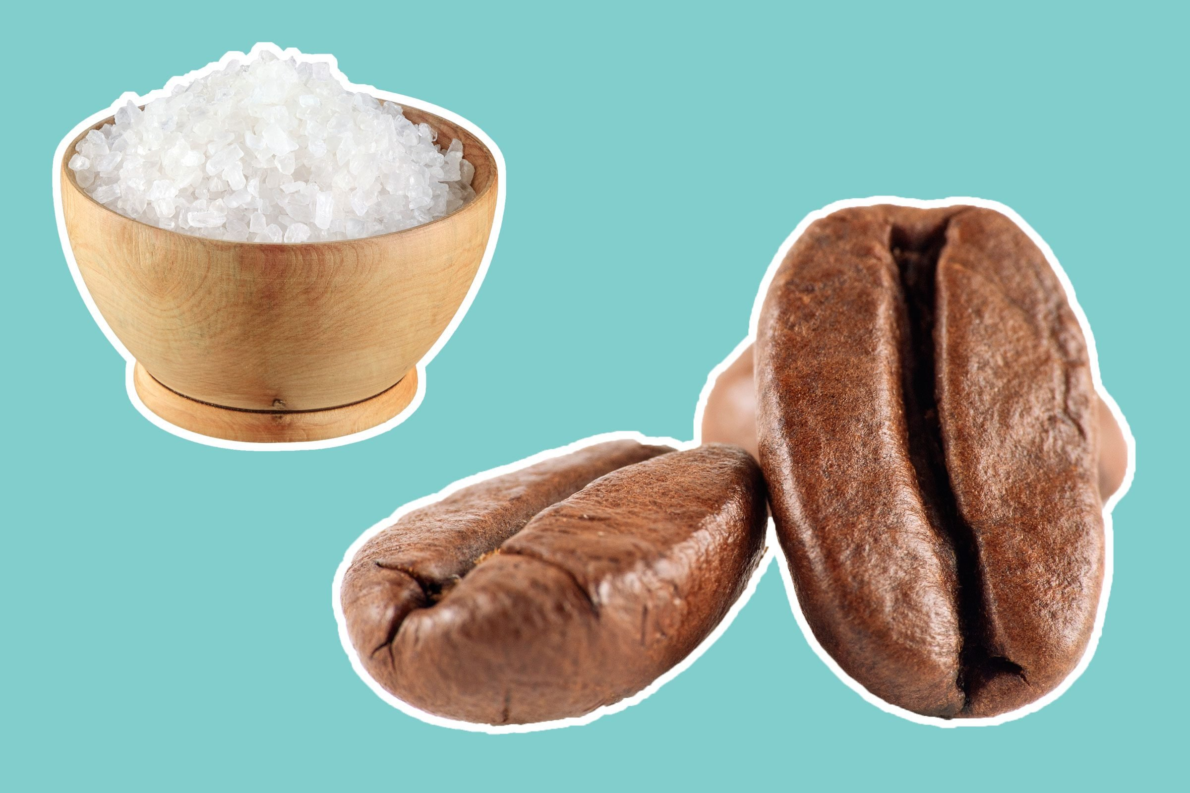 kosher salt in a bowl and coffee beans