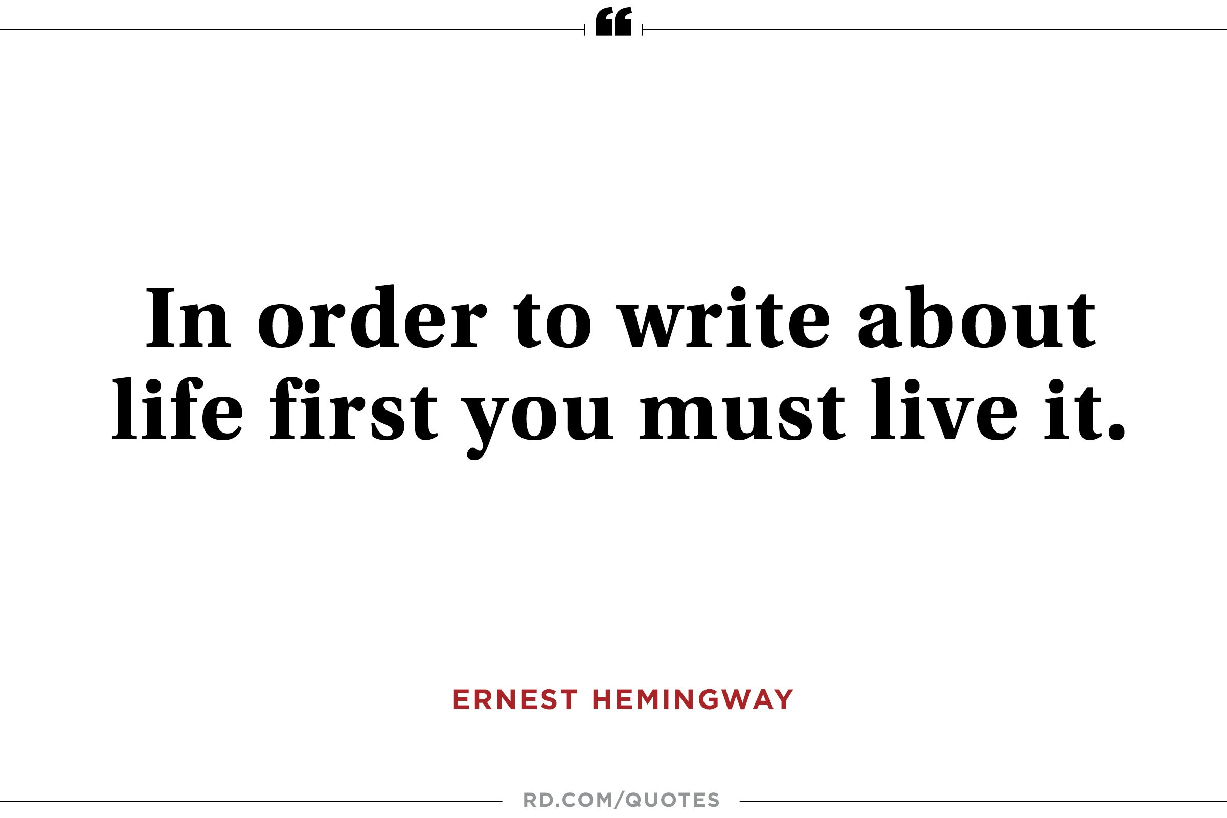 Housekeeping Quotes 12 Inspiring Ernest Hemingway Quotes  Reader's Digest