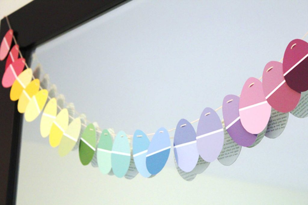 paint chip garland easter crafts