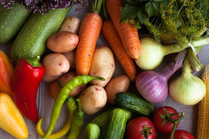 Ripe fresh vegetables. Summer time.