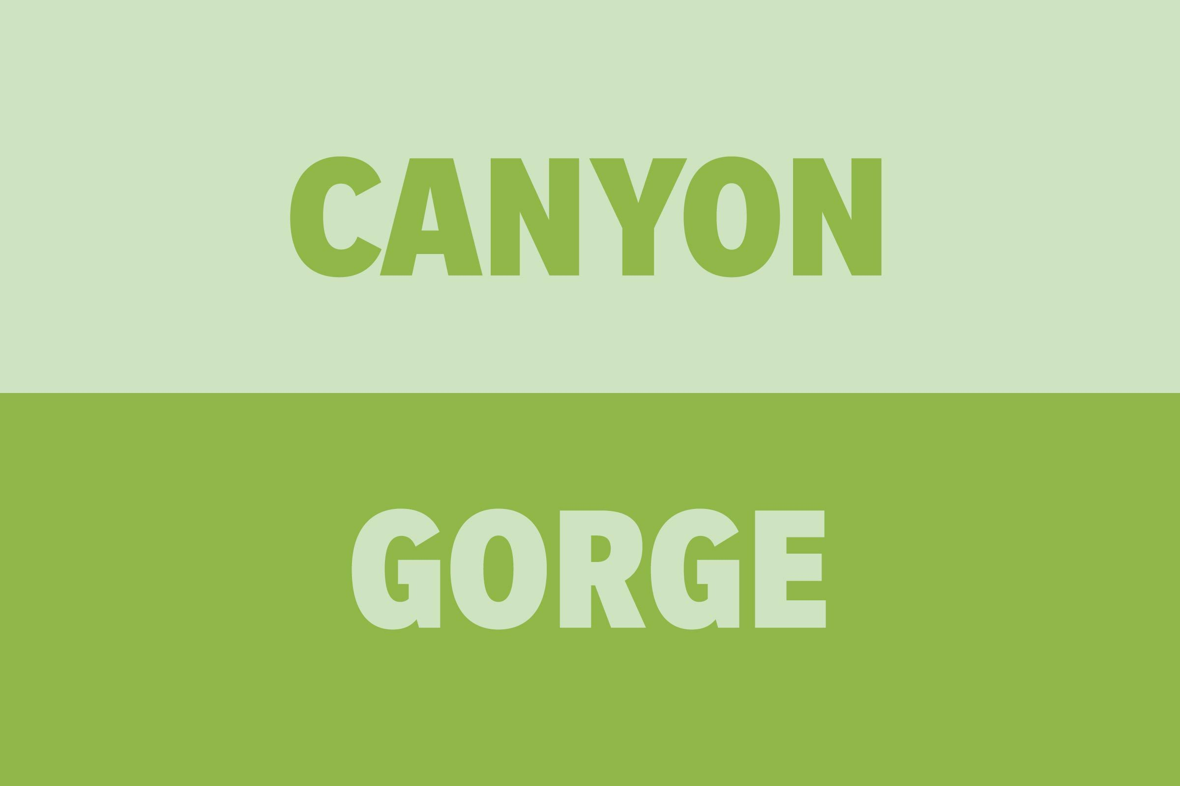 Canyon vs Gorge