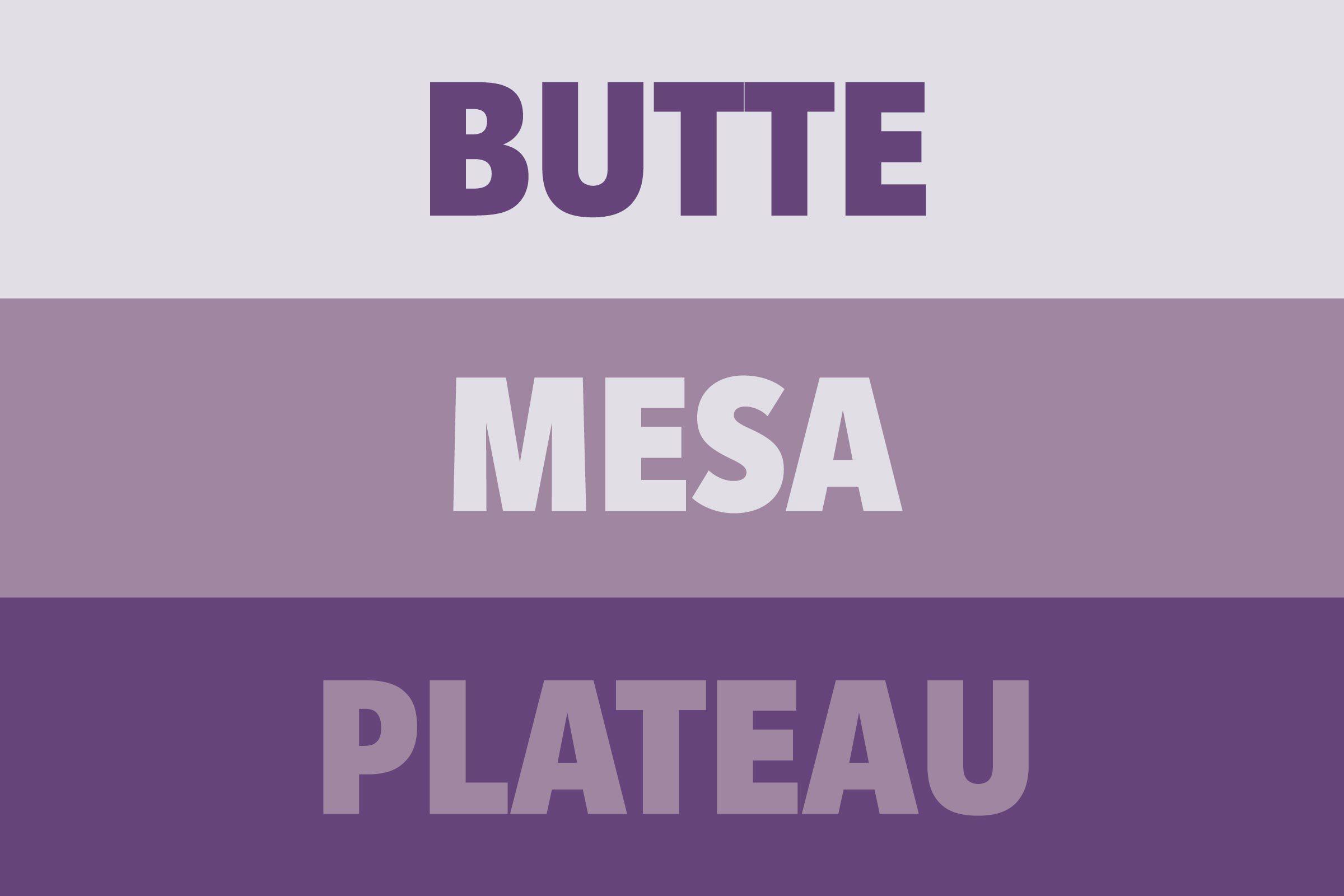 Butte vs Mesa vs Plateau