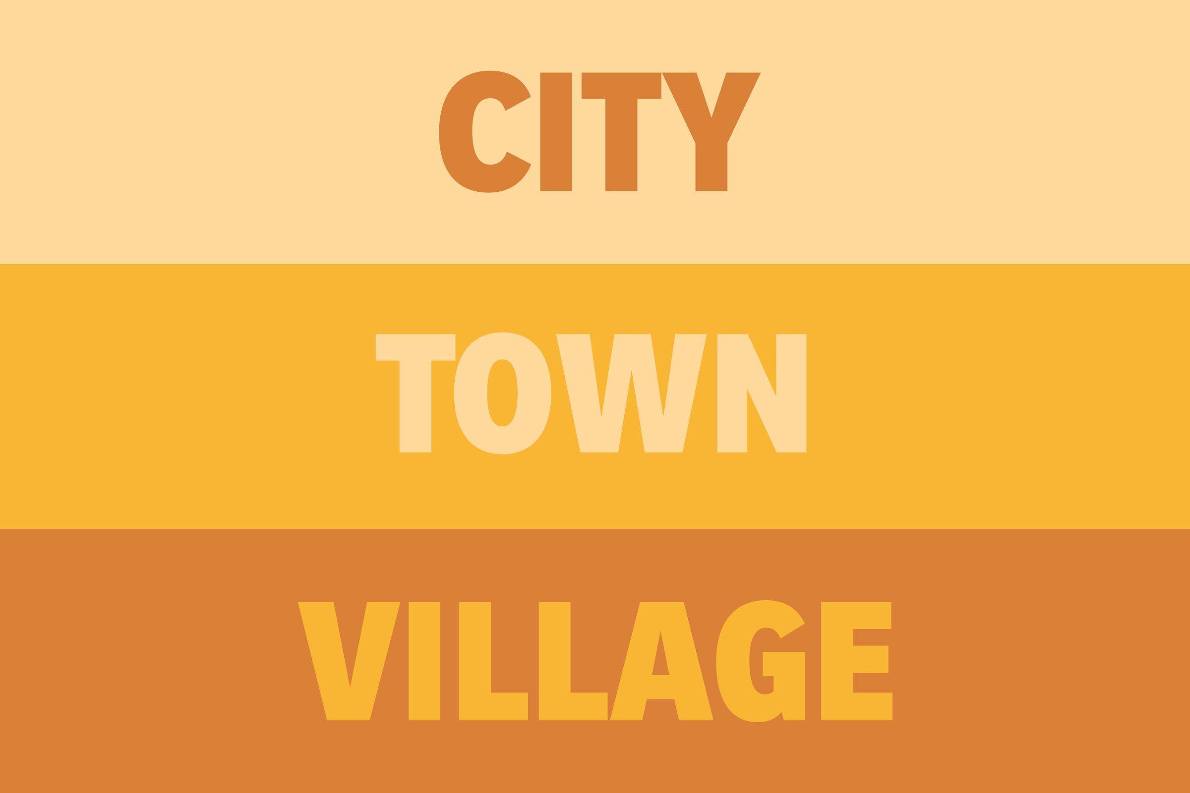 City vs Town vs Village