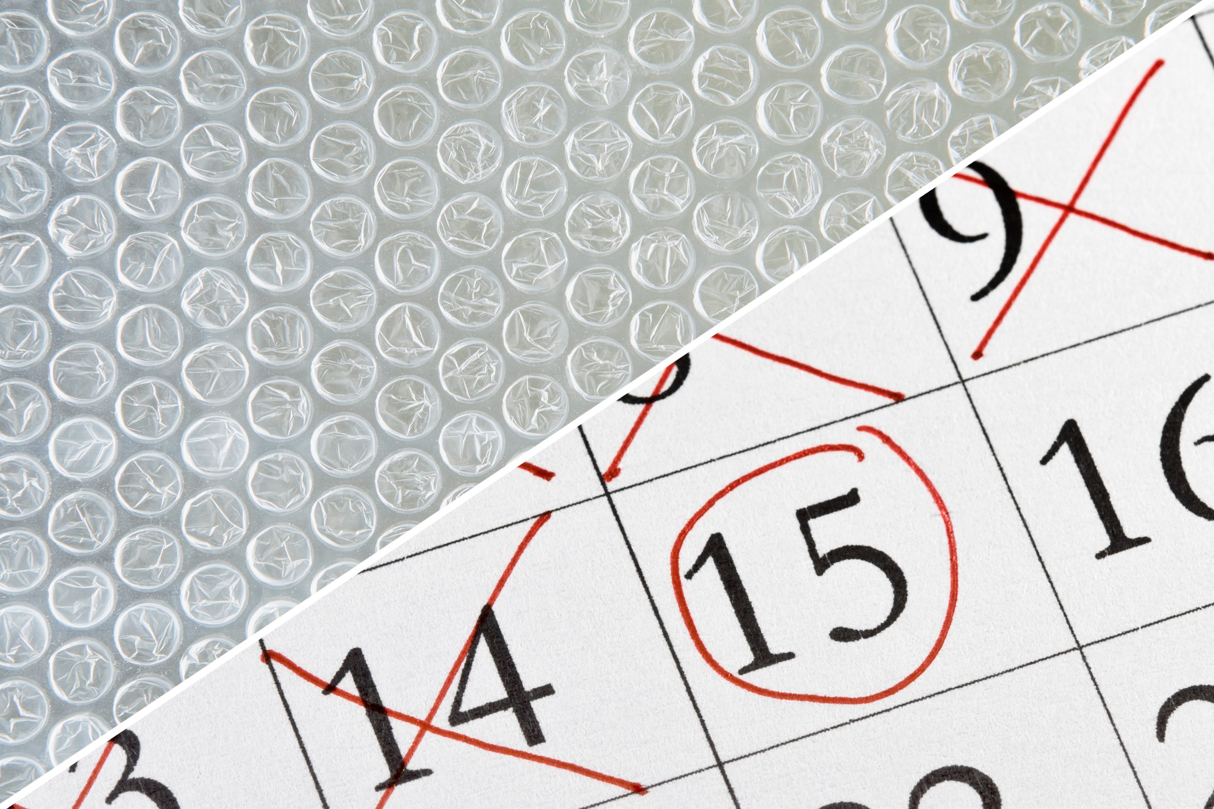 calendar count down bubble wrap