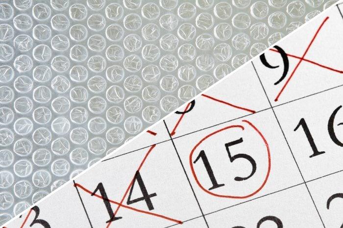calendar count down bubble wrap