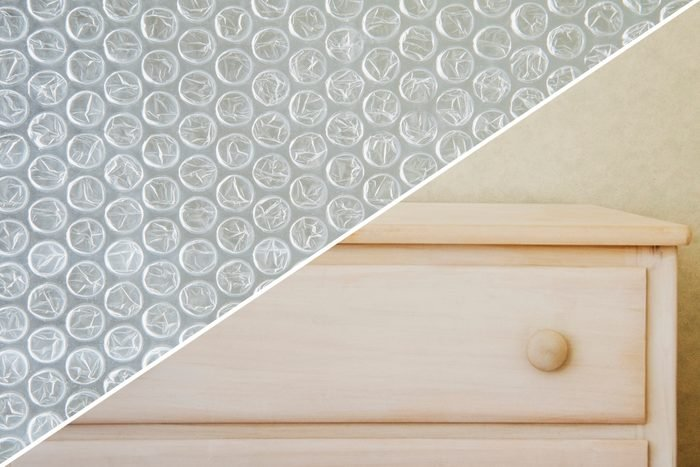 dusty furniture bubble wrap