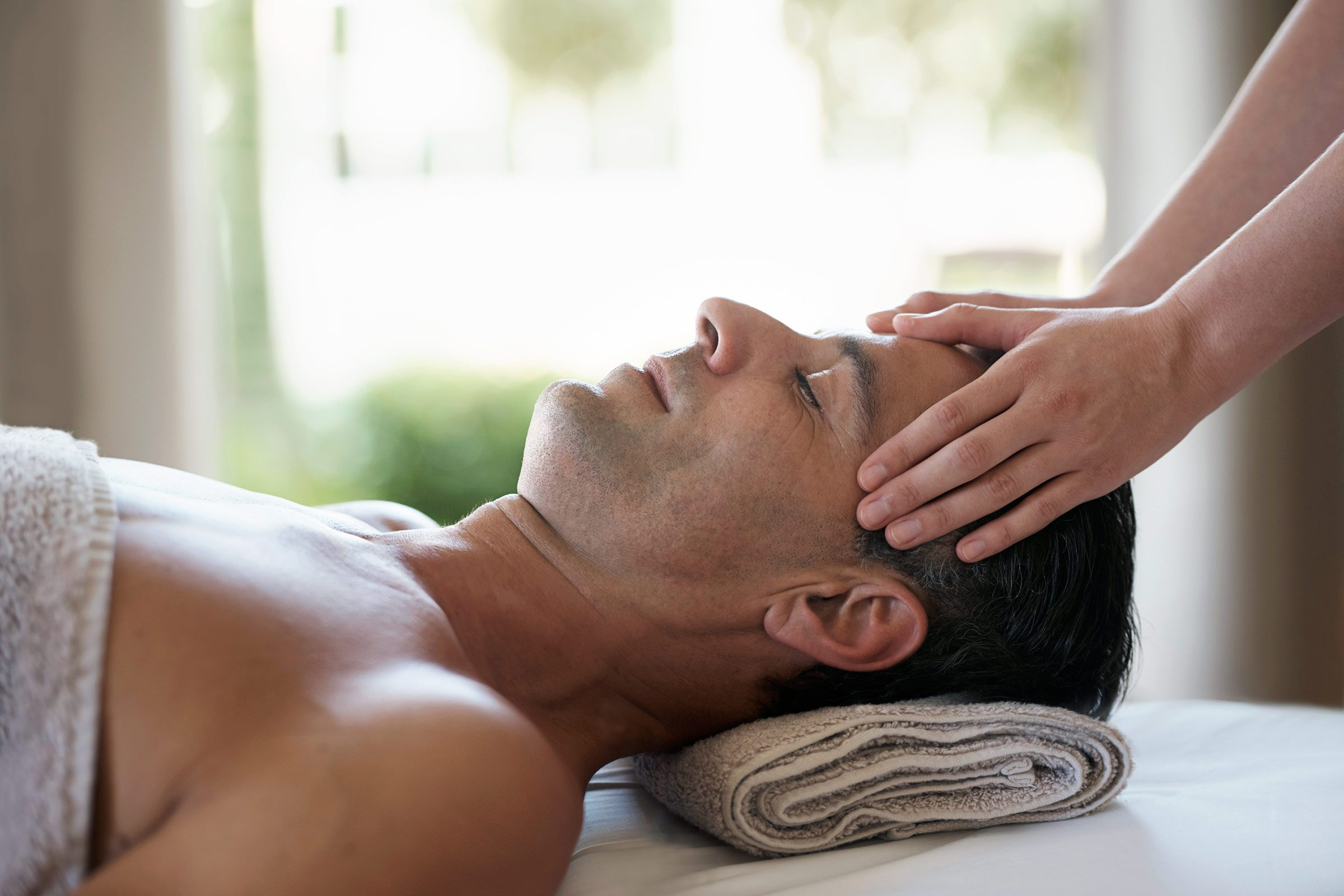 man getting massage on fathers day