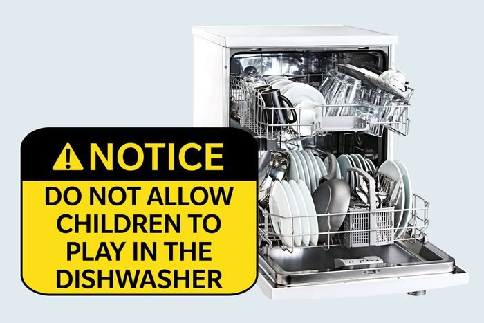 dishwasher. notice: do not allow children to play in the dishwasher