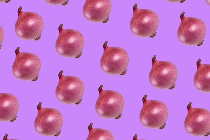onion on color background