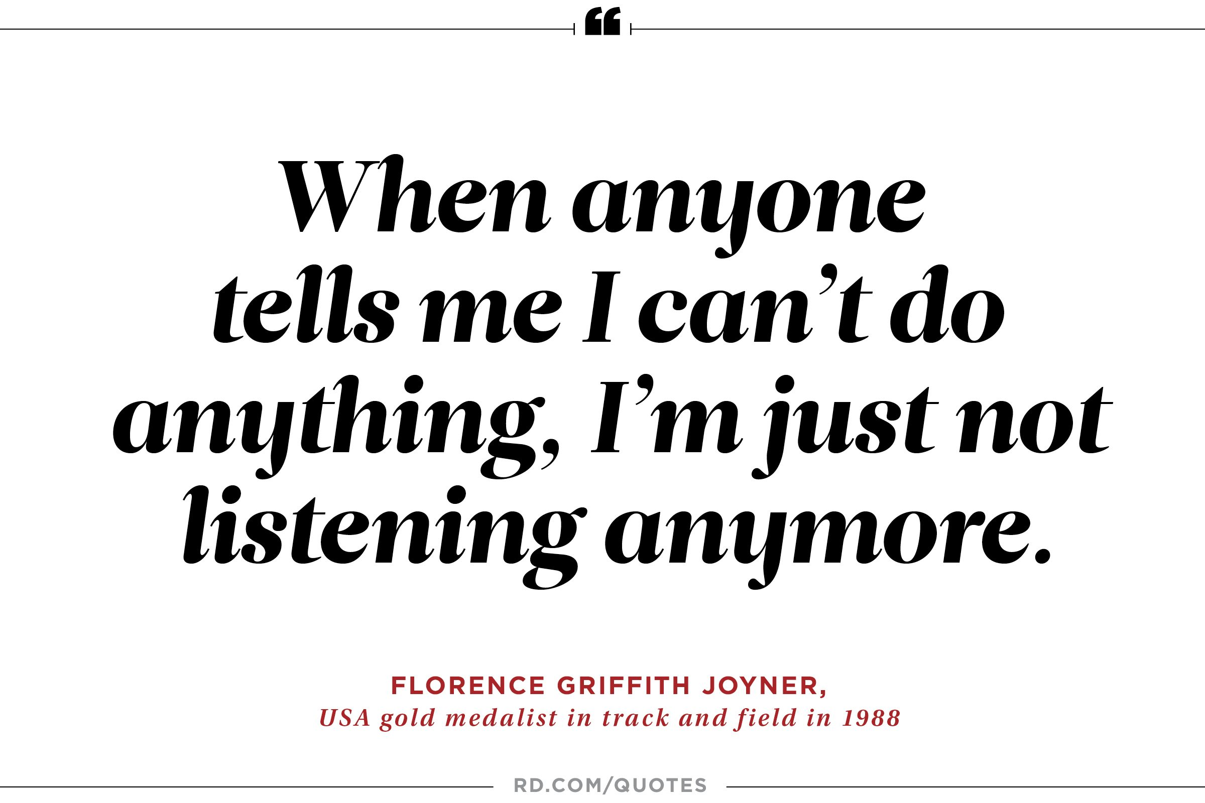 Florence Griffith Joyner On Self Confidence In The Face Of Adversity
