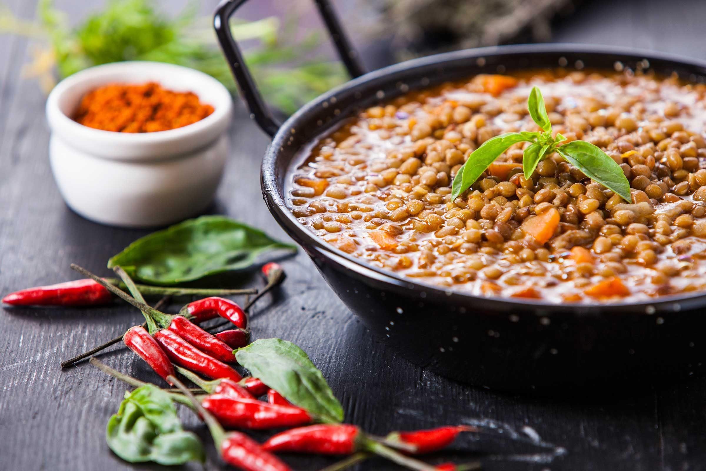 Lentils (1 cup of cooked lentil = 18 grams of protein)