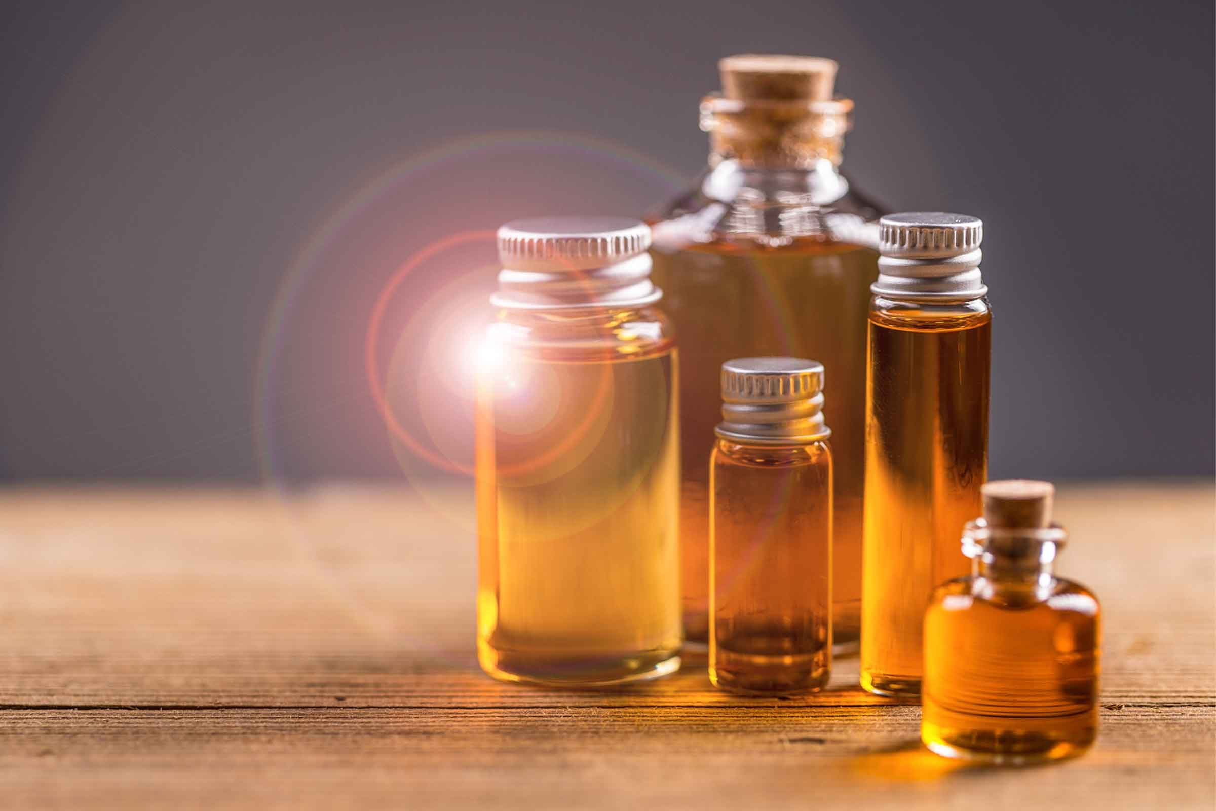 vials and jars of essential oils