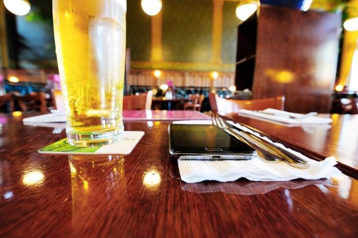 phone on dinner table