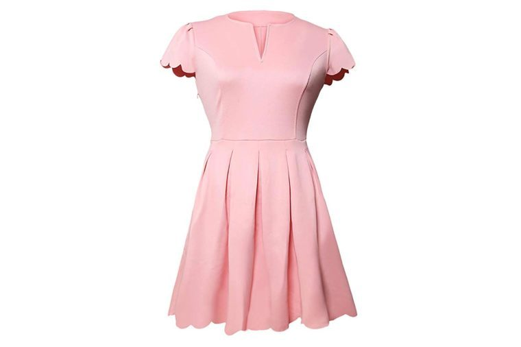 Sidefeel Women Cute V Neck Sweet Scallop Pleated Skater Dress
