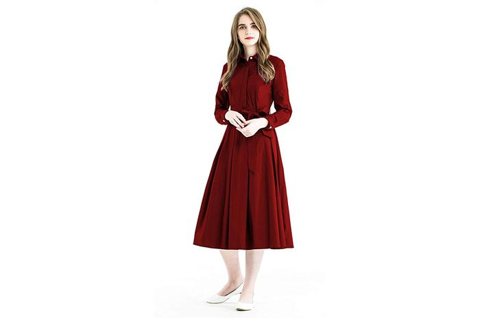 Zredurn Women's Elegant Pleated Shirt Dress with Long Sleeve Pleated Belted A-Line Dress Style