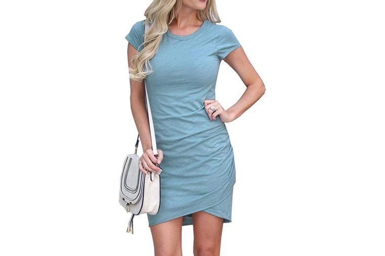 BTFBM Women's 2019 Casual Crew Neck Ruched Stretchy Bodycon T Shirt Short Mini Dress
