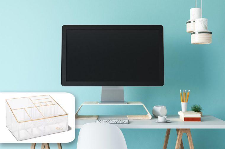 desktop on organized desk. target organizer.