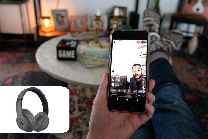 John Legend live on social media. best buy beats headphones.