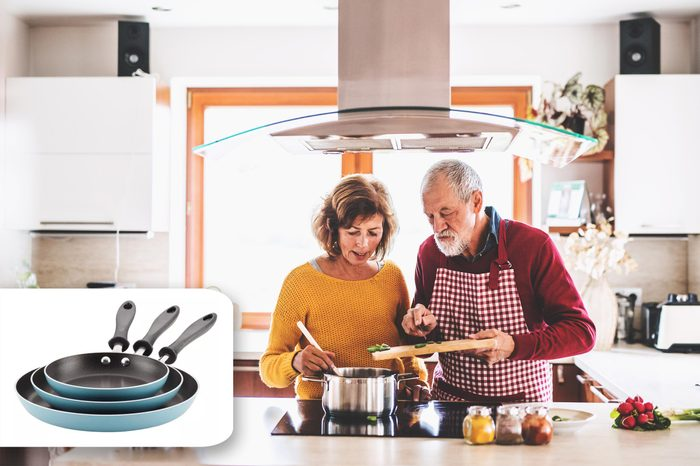 couple cooking. target pans.
