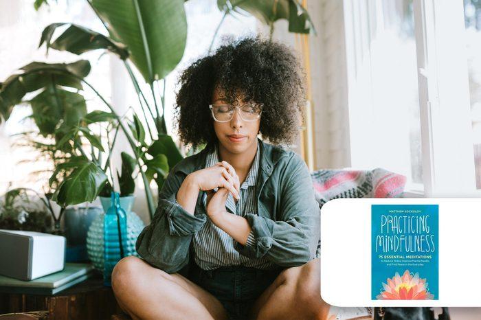 woman meditating at home. target meditation book.