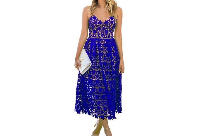 AlvaQ Women's Sexy V Neck Sleeveless Lace Dress