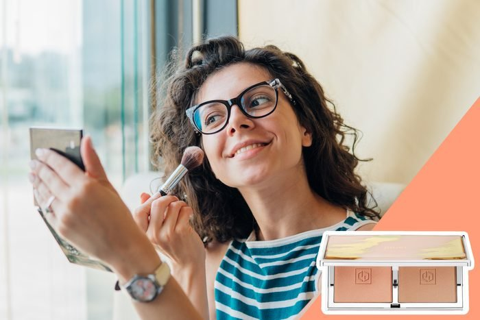 woman in glasses applying blush, with inset of blush